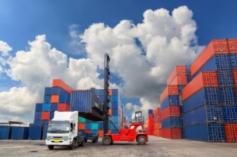 Containers in the port